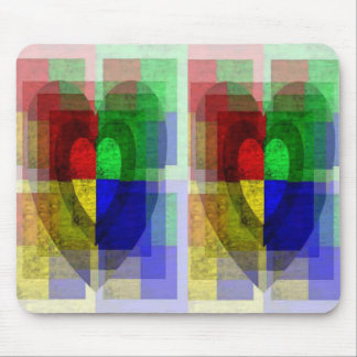 Multi-Color Woodgrain Hearts Mouse Pad