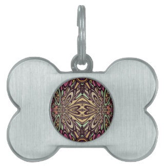 Multi Colored Abstract Floral Pattern Pet ID Tags