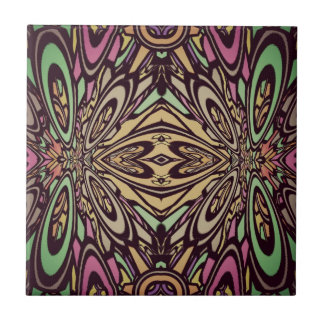 Multi Colored Abstract Floral Pattern Ceramic Tile