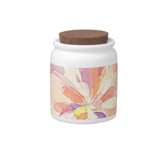 Multi Colored Abstract Flower Design Pattern Candy Dish