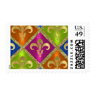 Multi Colored and Gold Fleur de Lis Postage Stamp