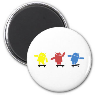 Multi Colored Android Skateboarder 2 Inch Round Magnet