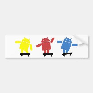 Multi Colored Android Skateboarder Car Bumper Sticker