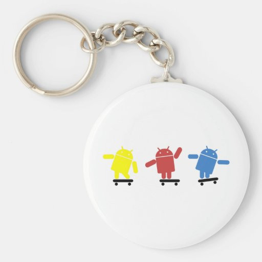 Multi Colored Android Skateboarder Key Chain