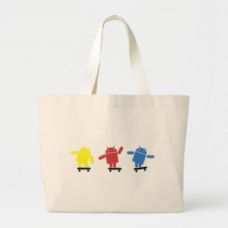 Multi Colored Android Skateboarder Large Tote Bag