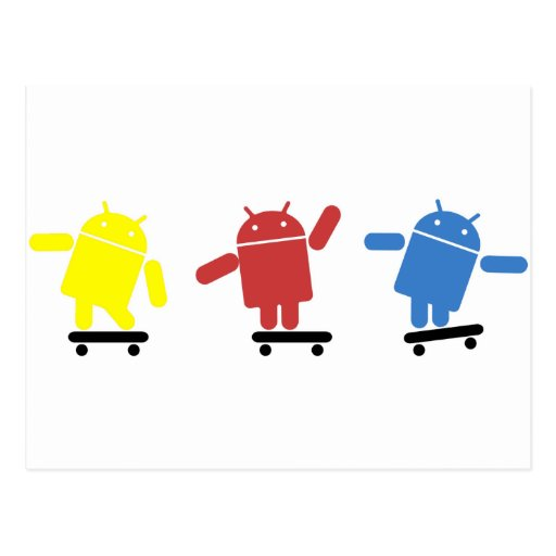 Multi Colored Android Skateboarder Post Cards
