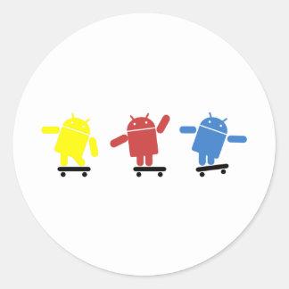 Multi Colored Android Skateboarder Classic Round Sticker