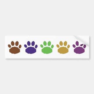 Multi-Colored Animal Paw Prints Bumper Sticker