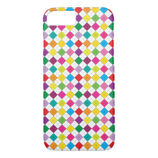 Multi Colored Argyle Design (White)- iPhone 7 Case
