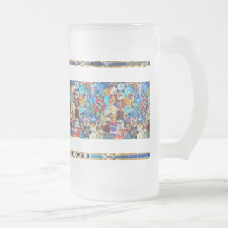 Multi Colored Arts Pattern Frosted Glass Beer Mug