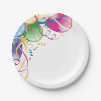 Multi Colored Balloons and Streamers Paper Plate