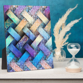Multi Colored Basket Weave Design Plaque
