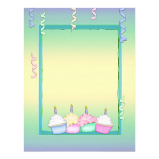 Multi-colored Birthday Cupcakes Letterhead