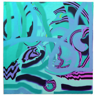 Multi-colored Blues Pinks Cloth Dinner Napkins (4)
