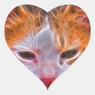 Multi Colored cats head Heart Sticker