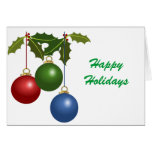 Multi Colored Christmas Balls & Holly Cards