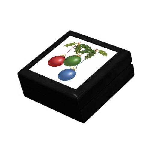 Multi Colored Christmas Balls & Holly Keepsake Boxes