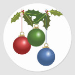Multi Colored Christmas Balls & Holly Stickers
