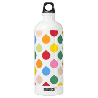 Multi-colored Christmas Ornament pattern Aluminum Water Bottle