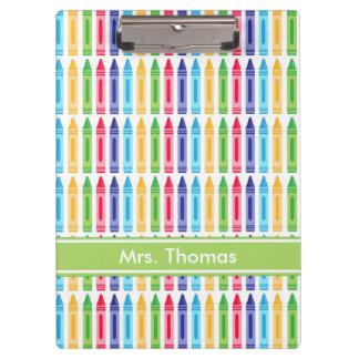 Multi Colored Crayon Personalized Clipboard