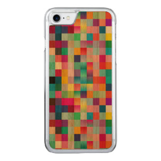 Multi Colored Design Cherry Wood Carved iPhone 7 Case