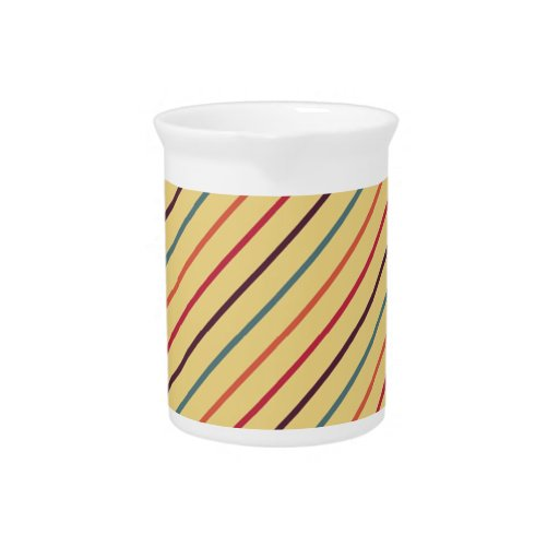 Multi Colored Diagonal Stripes Beverage Pitcher