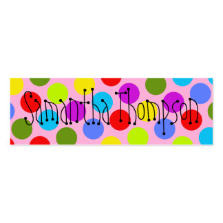 Multi-Colored Dot Kids Contact Info Double-Sided Mini Business Cards (Pack Of 20)