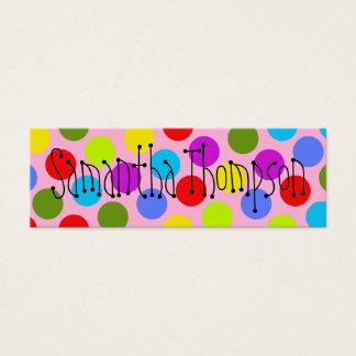 Multi-Colored Dot Kids Contact Info Mini Business Card