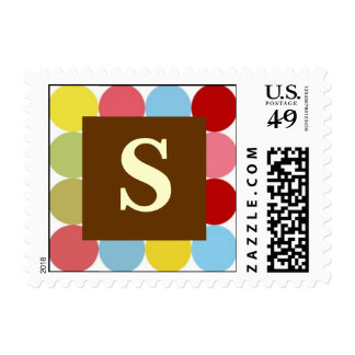 Multi Colored Dots LETTER S POSTAG... - Customized Stamp