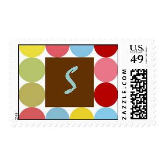 Multi Colored Dots Monogram S Postage Stamp