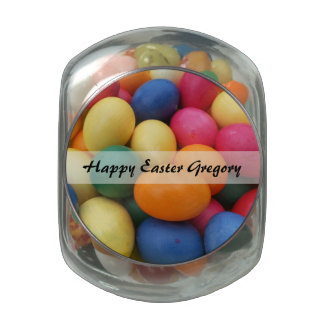 Multi colored Easter Eggs Festive Glass Candy Jar