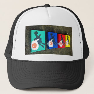 multi colored egg rubber chicken trucker hat