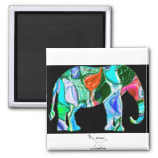Multi Colored Elephant 2 Inch Square Magnet