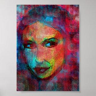 multi colored face poster