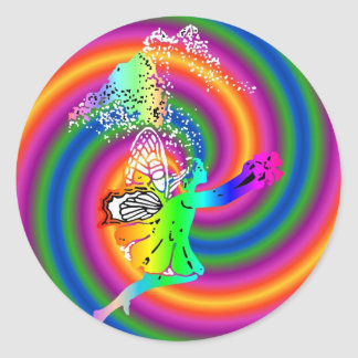 Multi-colored fairy classic round sticker