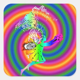 Multi-colored fairy square sticker