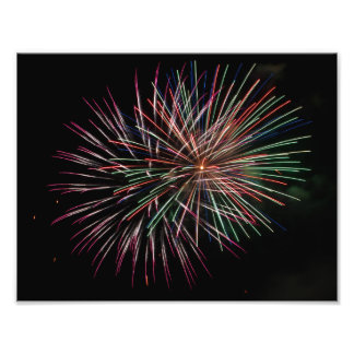 Multi colored fireworks photo print