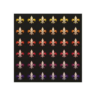 Multi Colored Fleur De Lis Black Pattern Wood Print