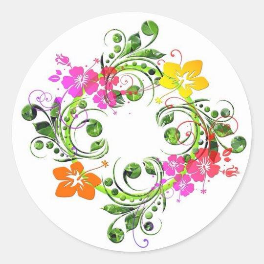 Multi colored floral design classic round sticker