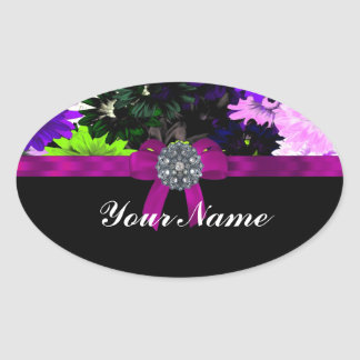 Multi-colored floral oval sticker