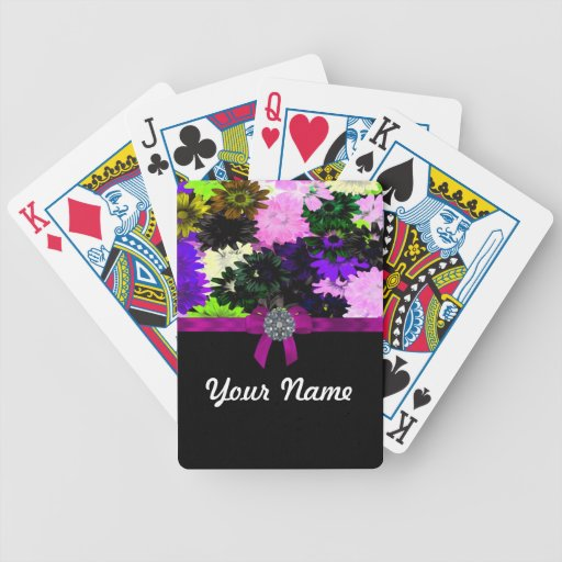 Multi-colored floral playing cards