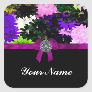 Multi-colored floral square sticker