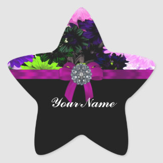 Multi-colored floral star sticker