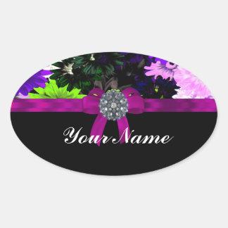 Multi-colored floral oval sticker