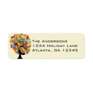 Multi Colored Flower Love Tree Return Address Label