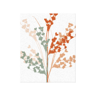 Multi-colored Foliage Print Stretched Canvas Prints