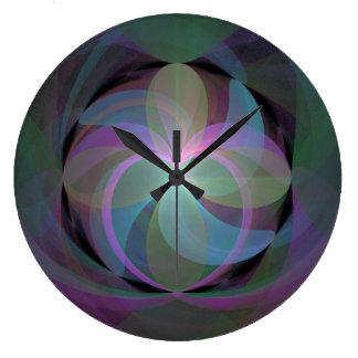Multi Colored Fractal Fan Large Clock