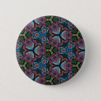 Multi colored Fractal Kaleidescope Pattern Button