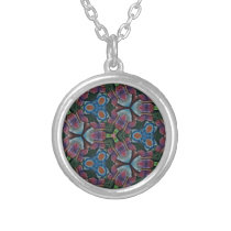 Multi colored Fractal Kaleidescope Pattern Silver Plated Necklace