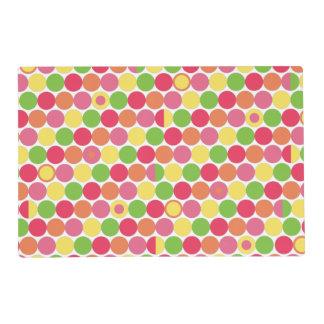 Multi Colored Fun Polka Dots Laminated Place Mat